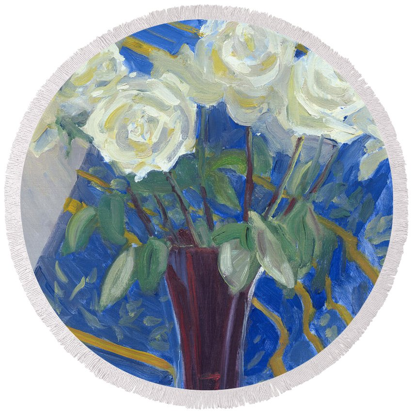 White Roses Round Beach Towel featuring the painting White Roses With Red And Blue by Candace Lovely