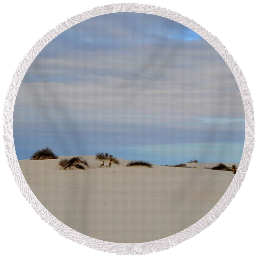 White Sand Round Beach Towel featuring the photograph White Sands I by Dawn Crichton