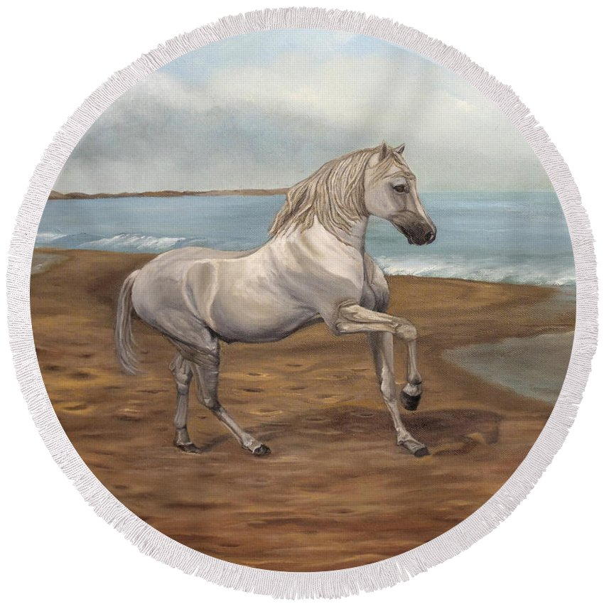 Horse Round Beach Towel featuring the painting White Spanish Horse by Angeles M Pomata