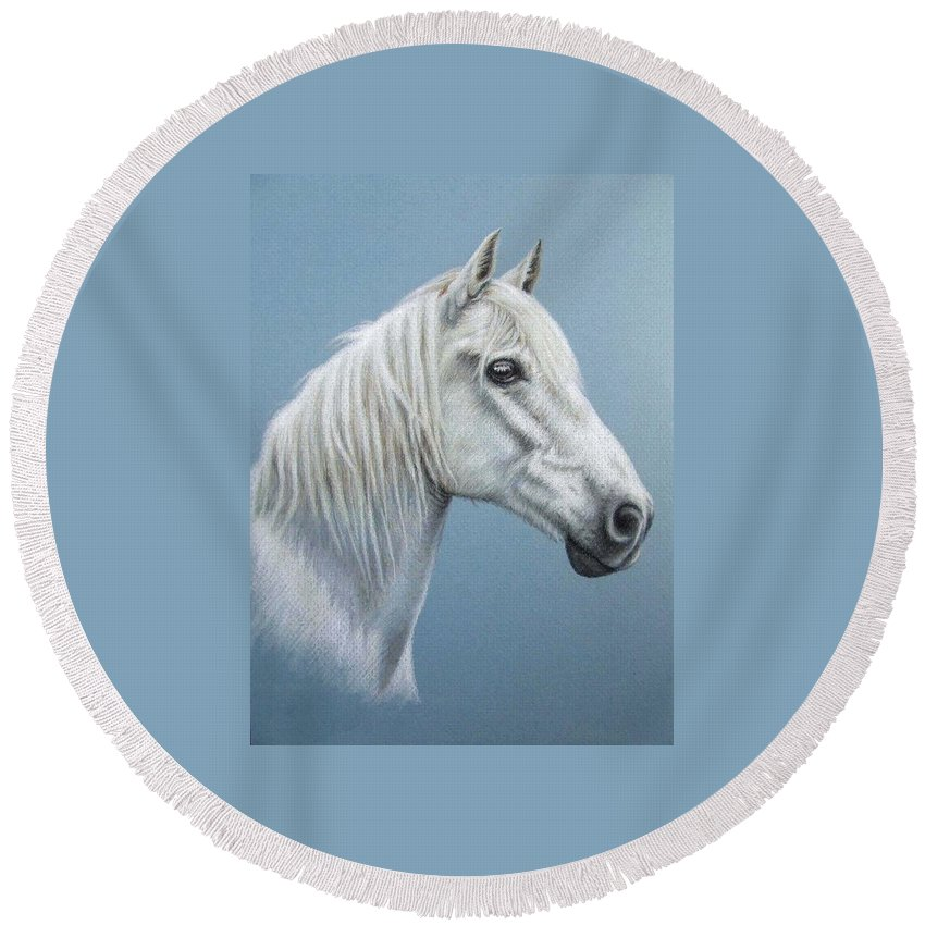 Horse Stallion White Pferd Portrait Animal Realism Pastel Round Beach Towel featuring the pastel White Stallion by Nicole Zeug
