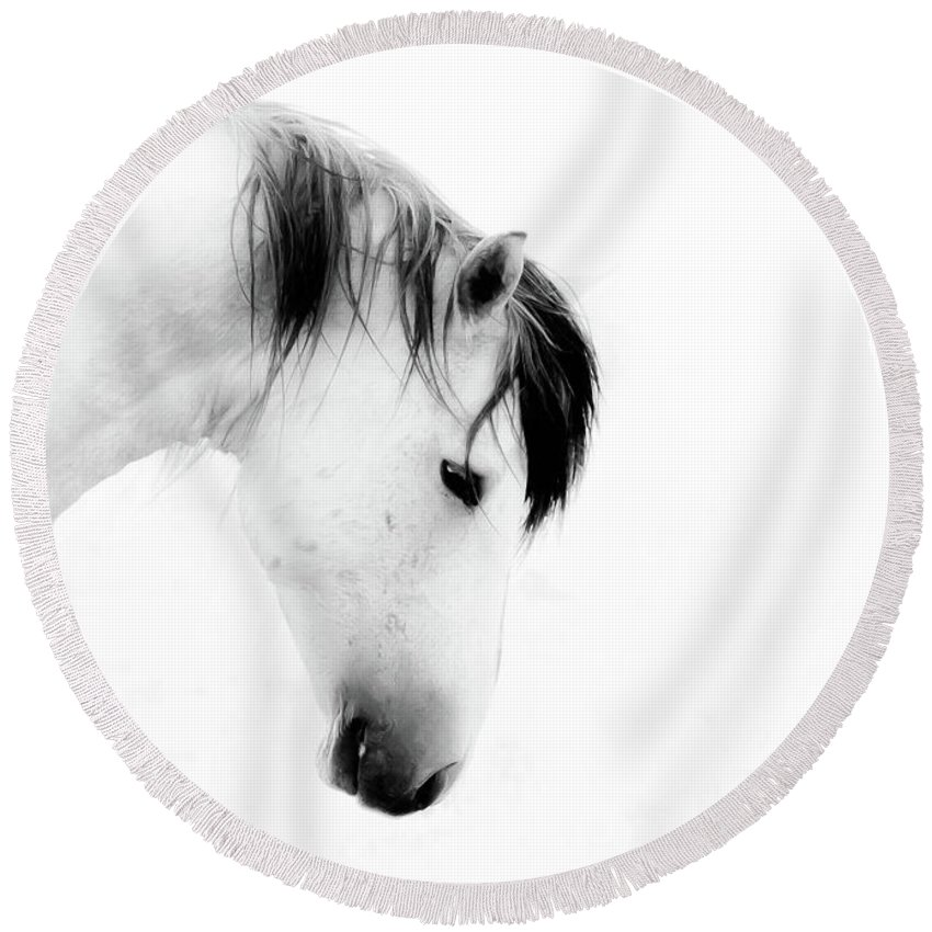 Wild Horse Round Beach Towel featuring the photograph White Stallion On White by Dirk Johnson