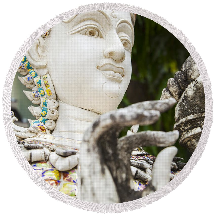 Godess Round Beach Towel featuring the photograph White Thai Statue by Sophie McAulay