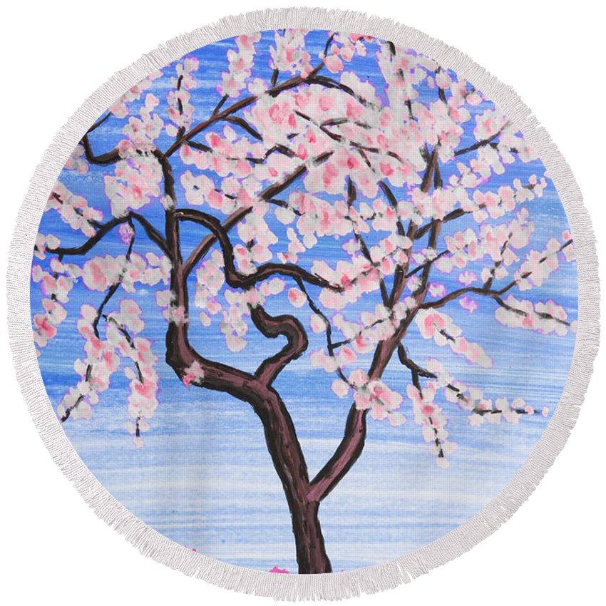 White Round Beach Towel featuring the painting White Tree, Painting by Irina Afonskaya