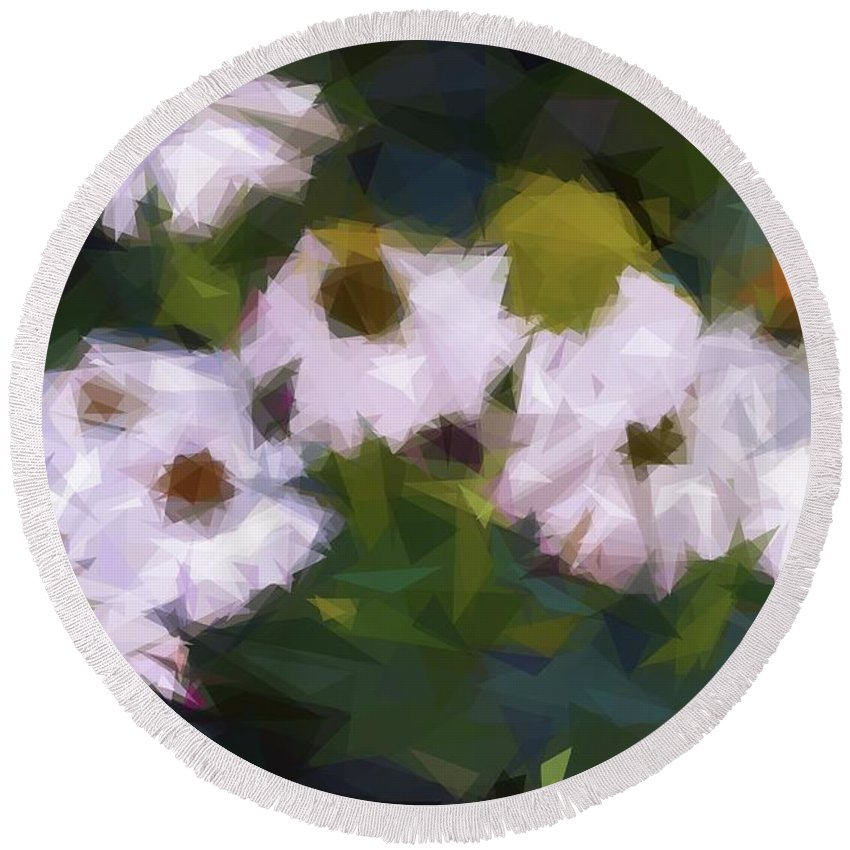 Alicegipsonphotographs Round Beach Towel featuring the photograph White Triangle Flowers by Alice Gipson