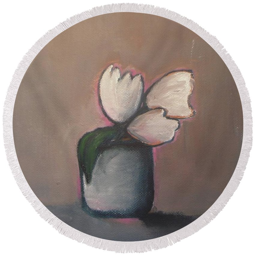 Abstract Round Beach Towel featuring the painting White Tulips - Abstract Art by Vesna Antic