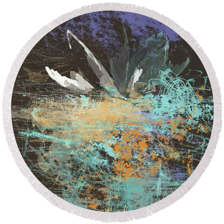 Art Round Beach Towel featuring the glass art White Water Lily by Susanne GaldenFredriksson