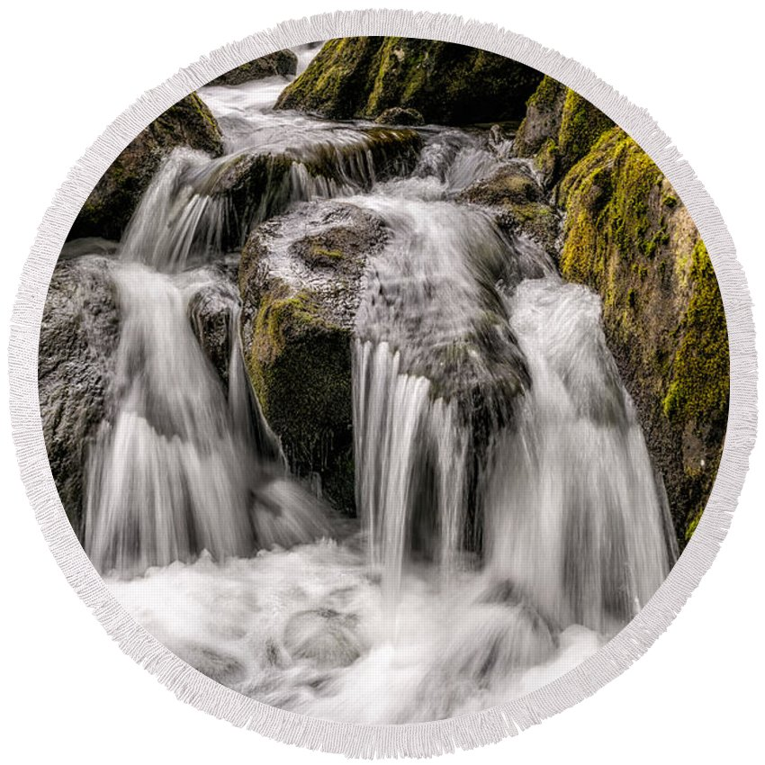 Waterfall Round Beach Towel featuring the photograph White Water Rapids by Adrian Evans