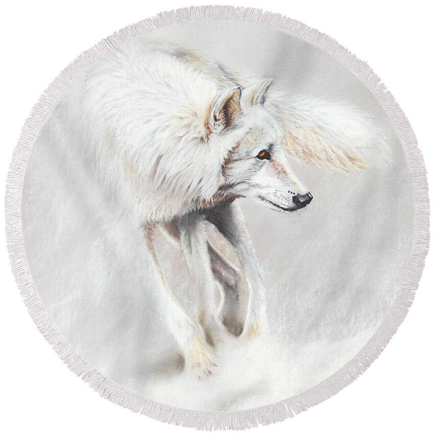 Wolf Round Beach Towel featuring the drawing Whiteout by Peter Williams