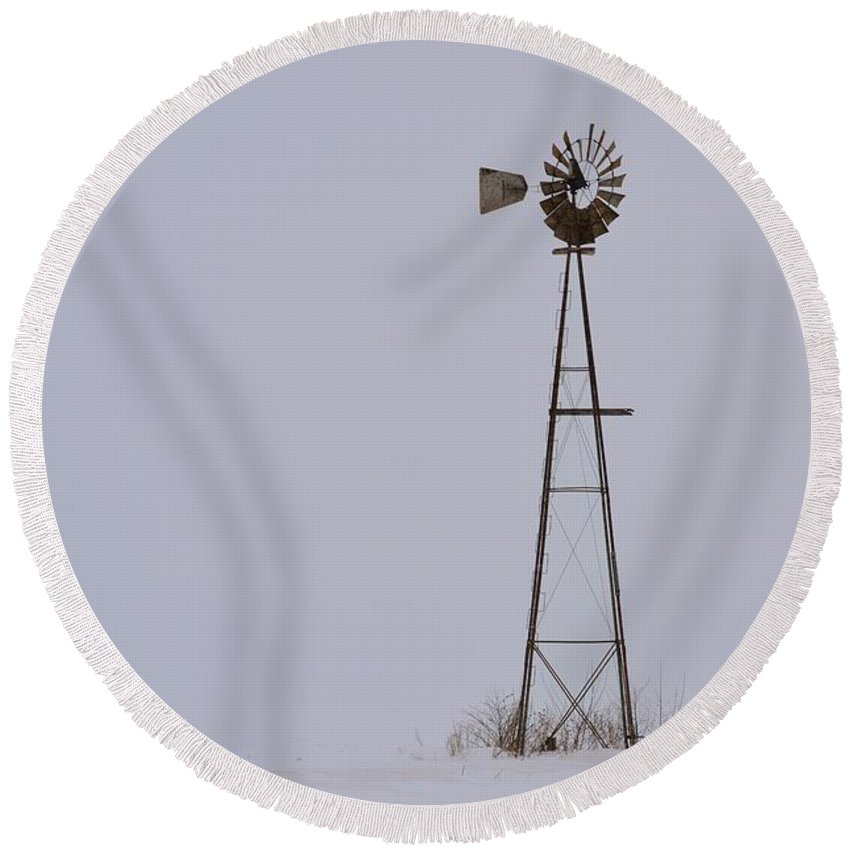 Windmill Round Beach Towel featuring the photograph Whiteout Winds by Bonfire Photography