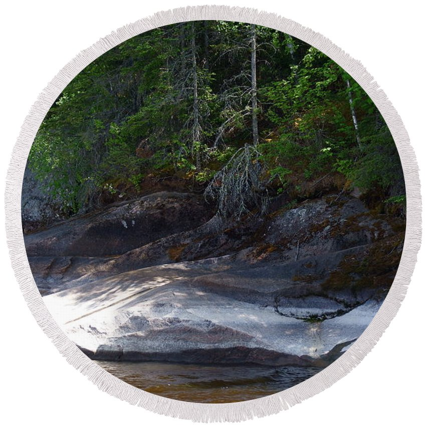Canadian Landscape Round Beach Towel featuring the photograph Whiteshell Provincial Park Lakeshore by Joanne Smoley