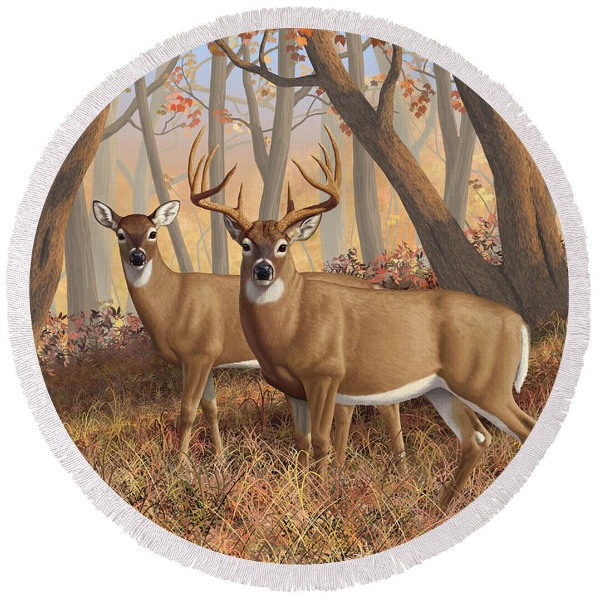 Deers Round Beach Towel featuring the painting Whitetail Deer Painting - Fall Flame by Crista Forest