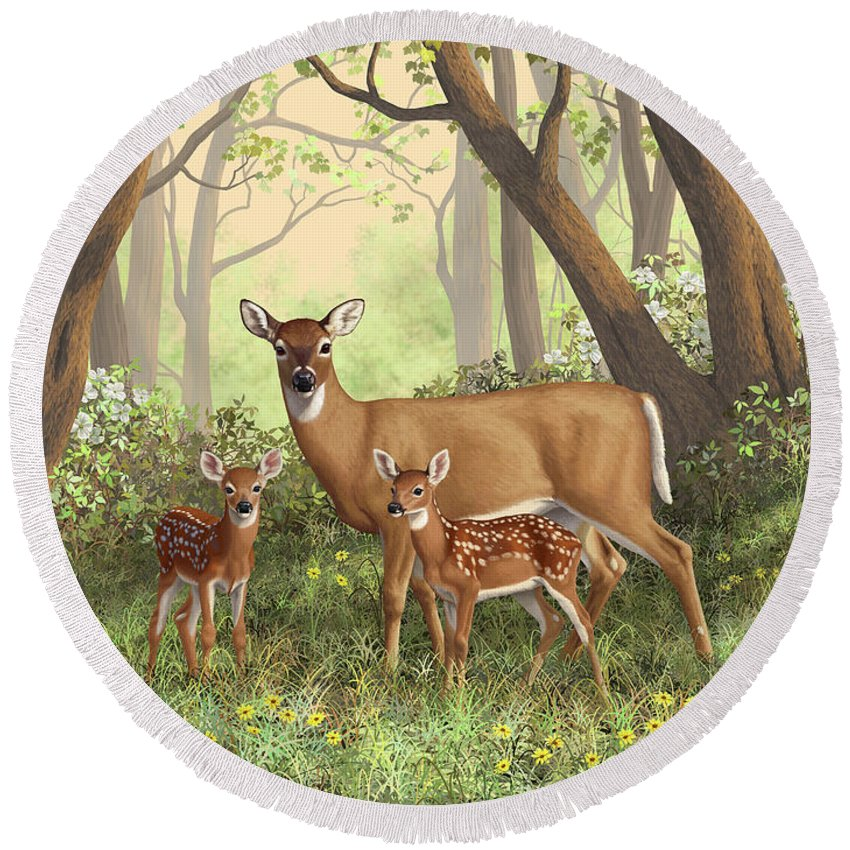 Whitetail Deer Round Beach Towel featuring the painting Whitetail Doe And Fawns - Mom's Little Spring Blossoms by Crista Forest