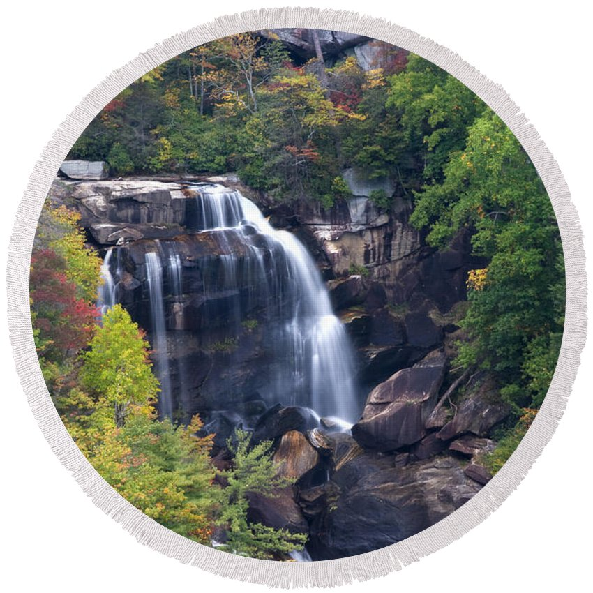 Whitewater Round Beach Towel featuring the photograph Whitewater Falls In Nc by Jill Lang