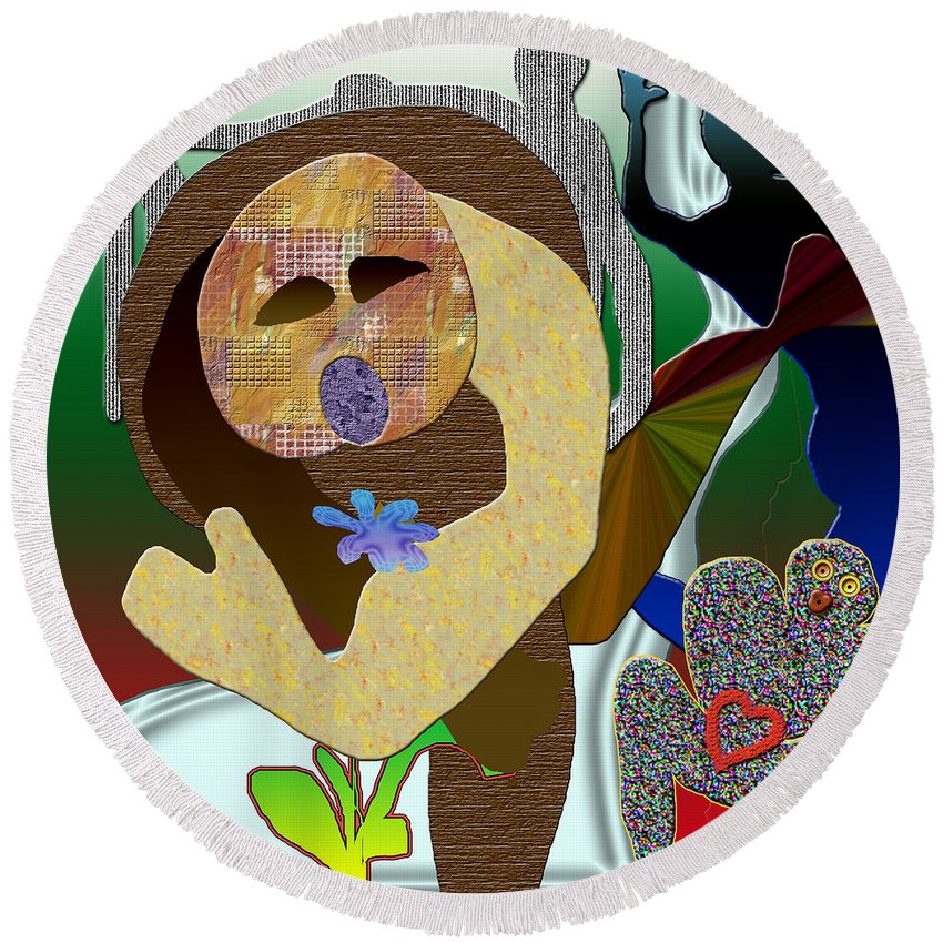 Flower Round Beach Towel featuring the digital art Whitout Title by Sitara Bruns