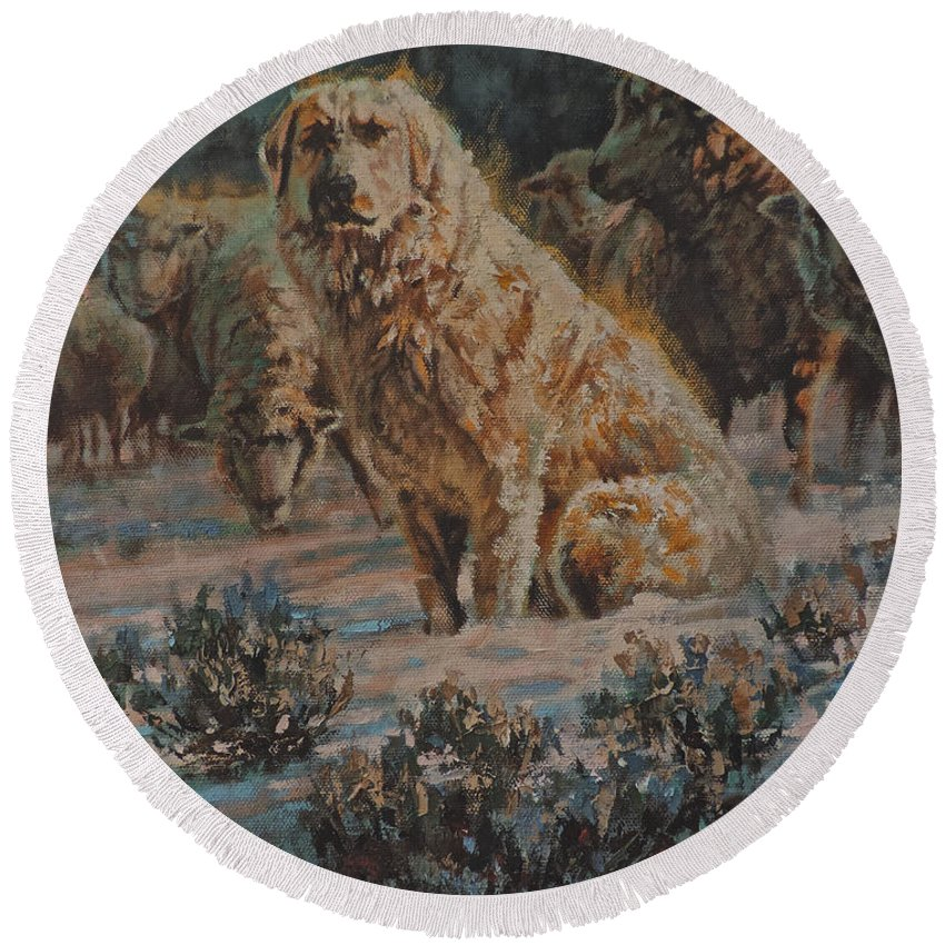 Guard Dog Round Beach Towel featuring the painting Who Goes There by Mia DeLode