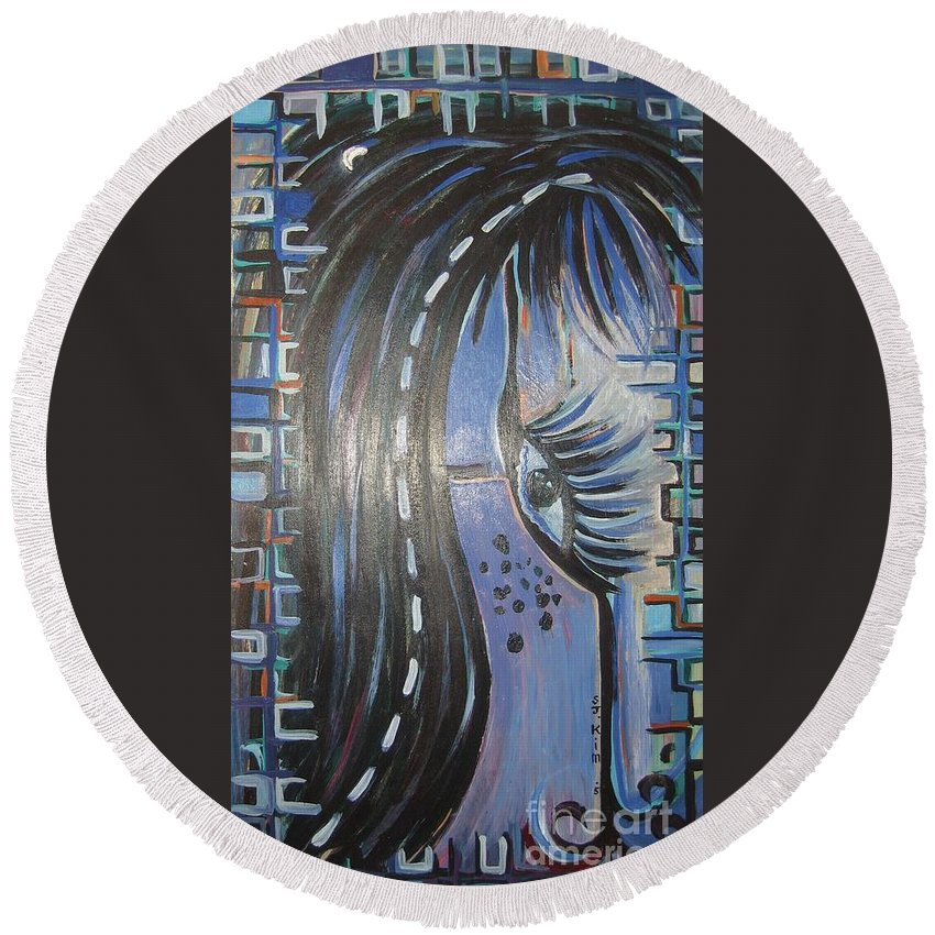 Original Round Beach Towel featuring the painting Who Is Watching Me1 by Seon-Jeong Kim