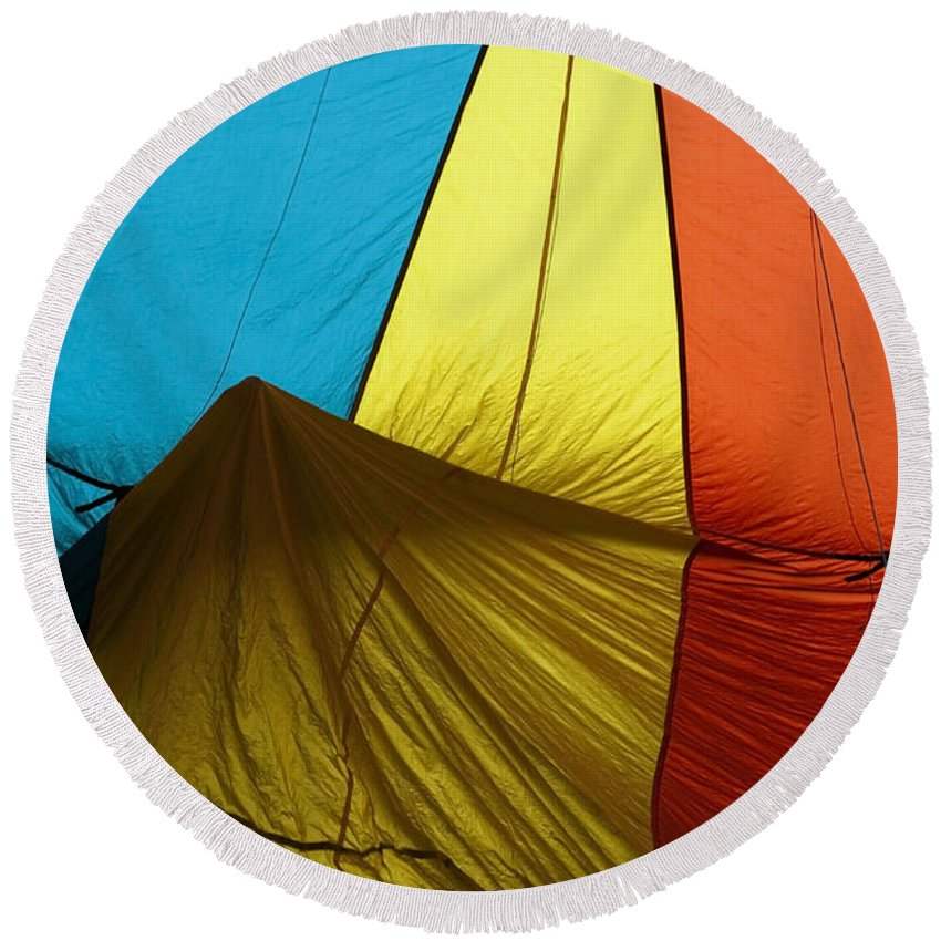 Balloon Round Beach Towel featuring the photograph Who Landed This Balloon On Me by Mike Dawson
