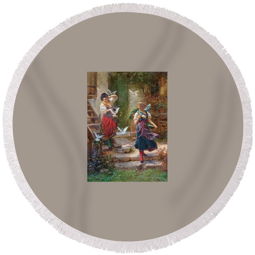 Costume Round Beach Towel featuring the digital art Who Others A Pit Digs Hans Zatzka by Eloisa Mannion