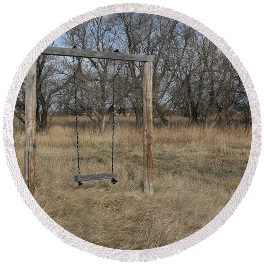 Swing Old Farm Grass Abandoned Trees Playgorund Lost Empty Lonely Round Beach Towel featuring the photograph Who Played Here by Andrea Lawrence