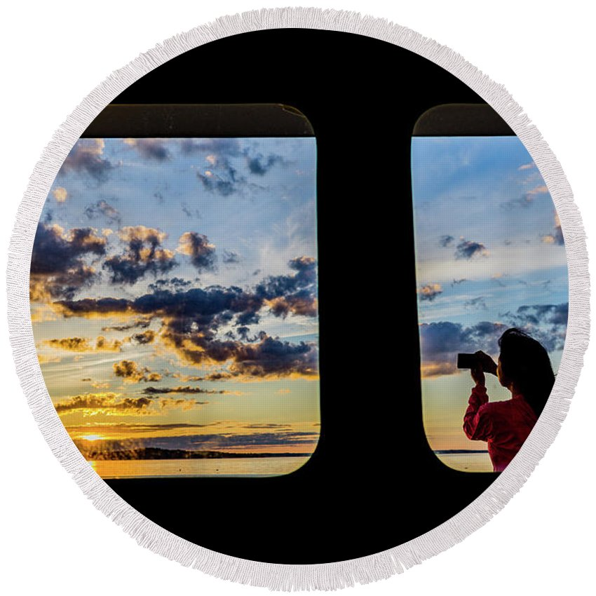 Sunset Round Beach Towel featuring the photograph Who Watches The Watcher? by John Gagnon