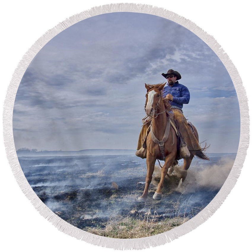Horse Round Beach Towel featuring the photograph Sudden Stop by Alan Hutchins