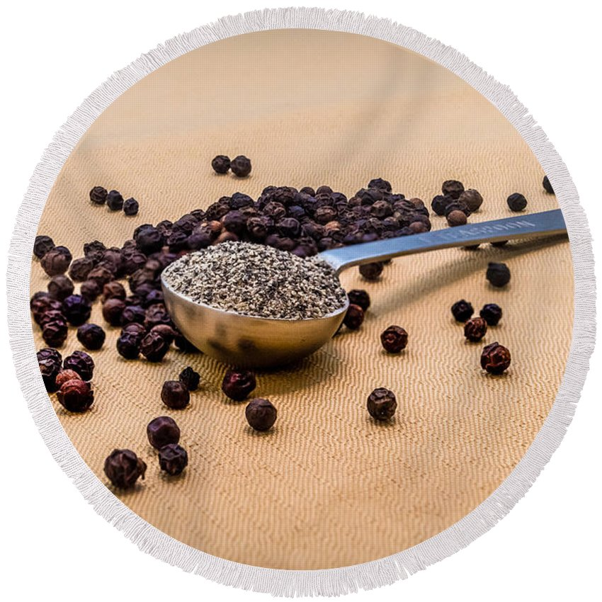 R3d Photography Round Beach Towel featuring the photograph Whole Black Peppercorns With A Heaping Teaspoon Of Ground Pepper by Ray Sheley