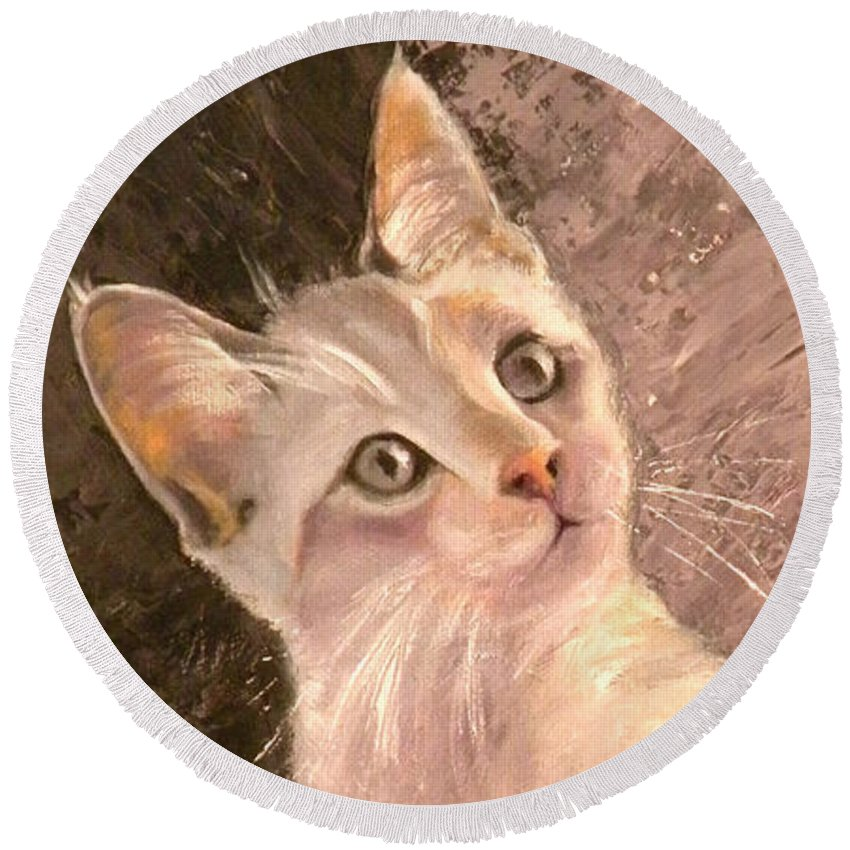 Cat Round Beach Towel featuring the painting Whole Lotta Lovin by Susan A Becker