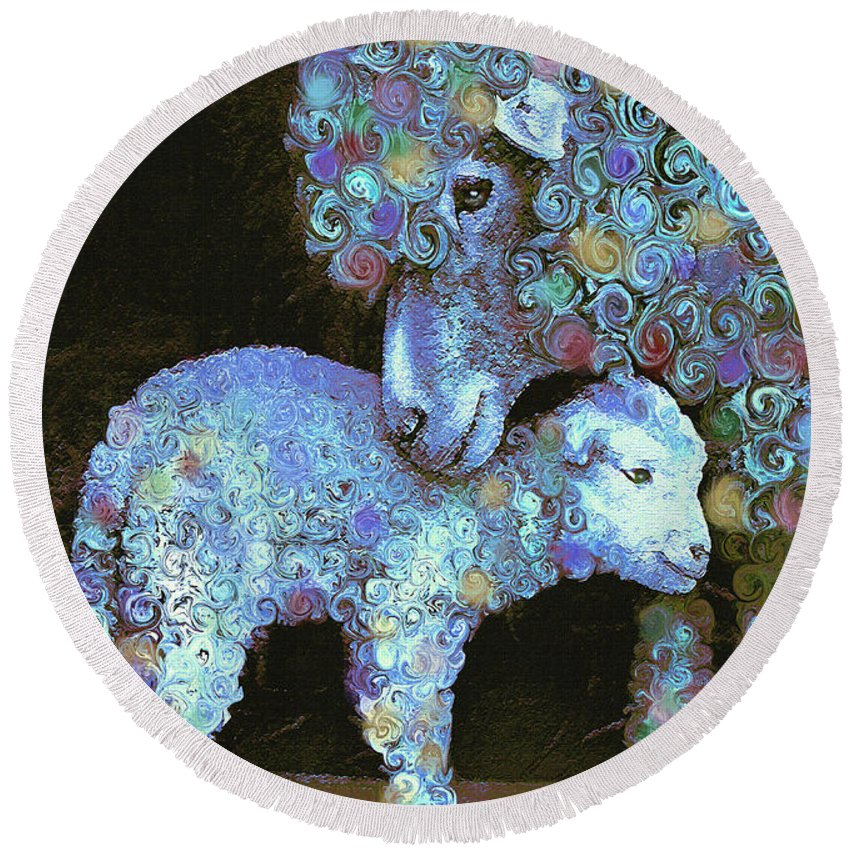 Lamb Round Beach Towel featuring the digital art Whose Little Lamb Are You? by Jane Schnetlage