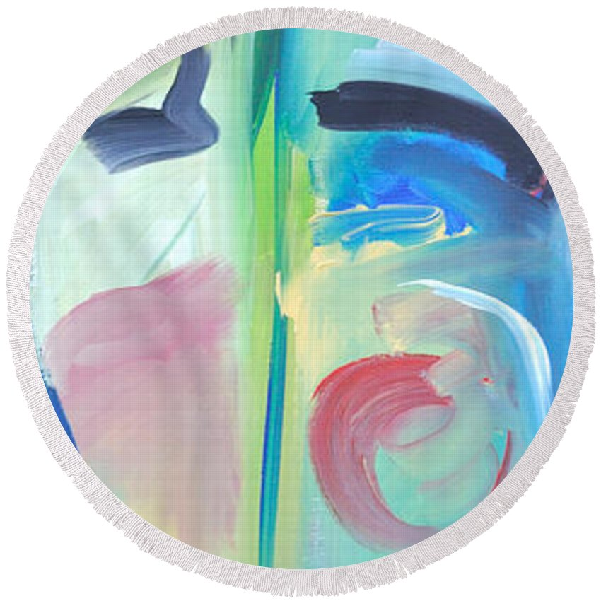Woman Round Beach Towel featuring the painting Why The Long Face by Tim Nyberg