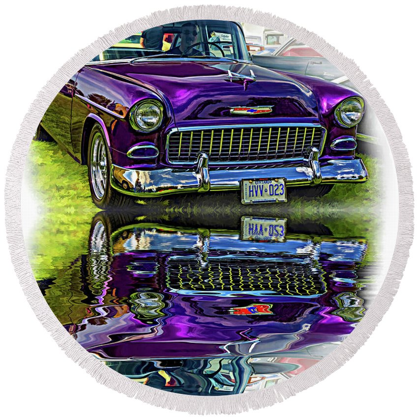 Automotive Round Beach Towel featuring the photograph Wicked 1955 Chevy - Reflection by Steve Harrington