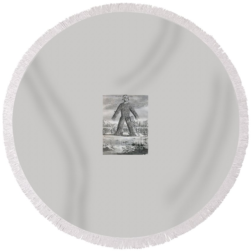 Witchcraft Round Beach Towel featuring the digital art Wicker Man by Frederick Holiday