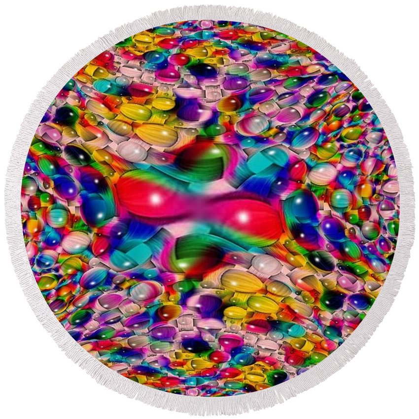 Marble Round Beach Towel featuring the photograph Wicker Marble Rainbow Fractal by Tim Allen