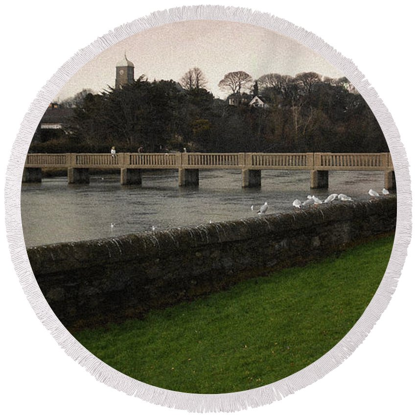 Footbridge Round Beach Towel featuring the photograph Wicklow Footbridge by Tim Nyberg