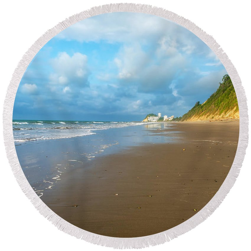 Same Round Beach Towel featuring the photograph Wide Beach And Nature by Jess Kraft