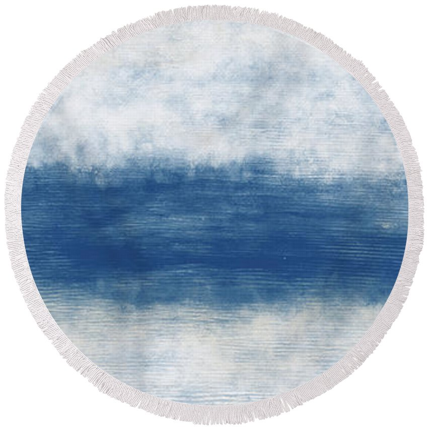 Beach Round Beach Towel featuring the mixed media Wide Open Ocean- Art by Linda Woods by Linda Woods