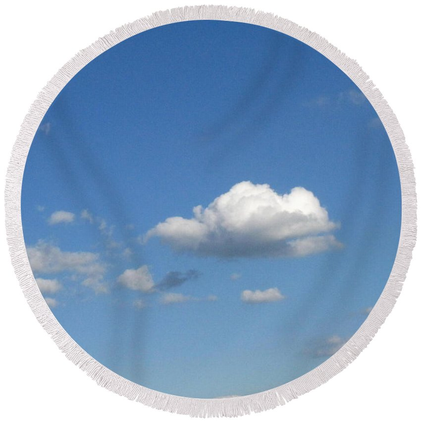Clouds Round Beach Towel featuring the photograph Wide Open by Rhonda Barrett