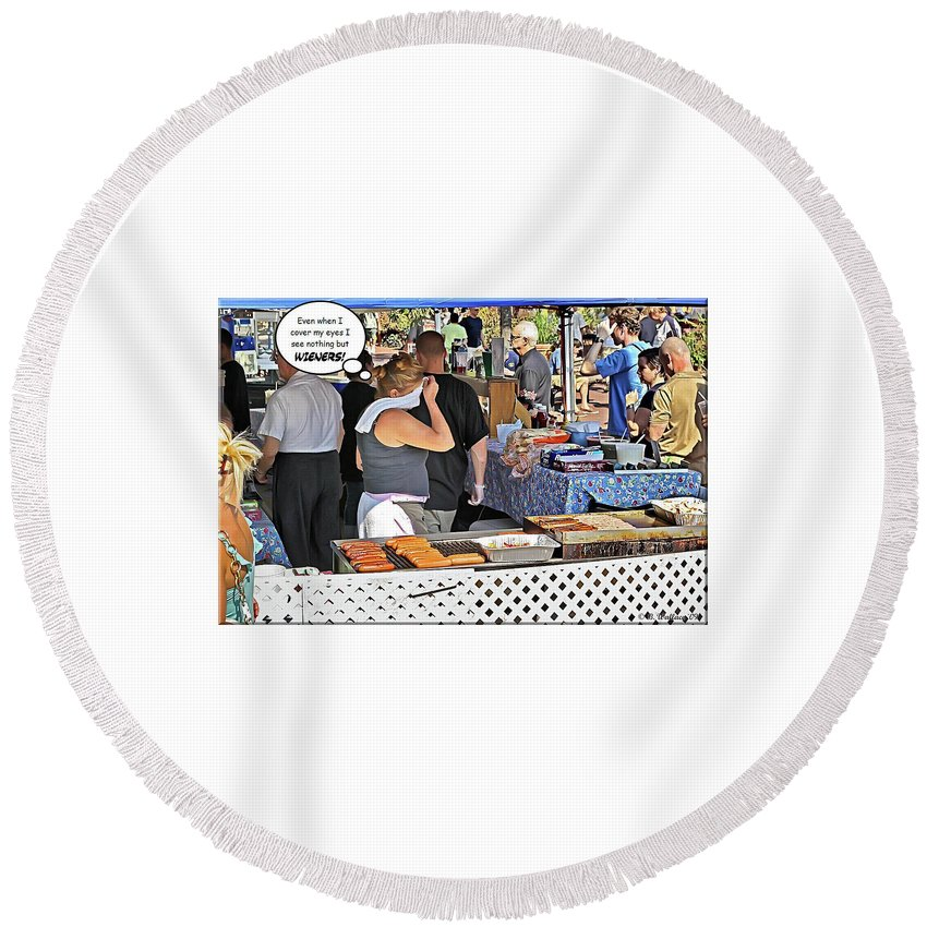 2d Round Beach Towel featuring the photograph Wieners by Brian Wallace