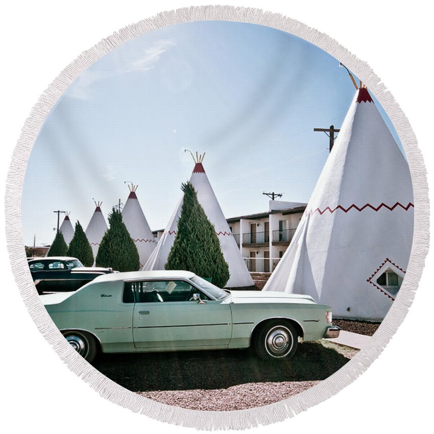 66 Round Beach Towel featuring the photograph Wigwam Motel Classic Car #3 by Robert J Caputo