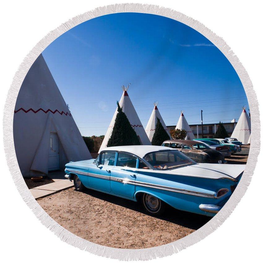 66 Round Beach Towel featuring the photograph Wigwam Motel Classic Car #6 by Robert J Caputo