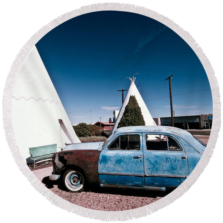 66 Round Beach Towel featuring the photograph Wigwam Motel Classic Car #7 by Robert J Caputo