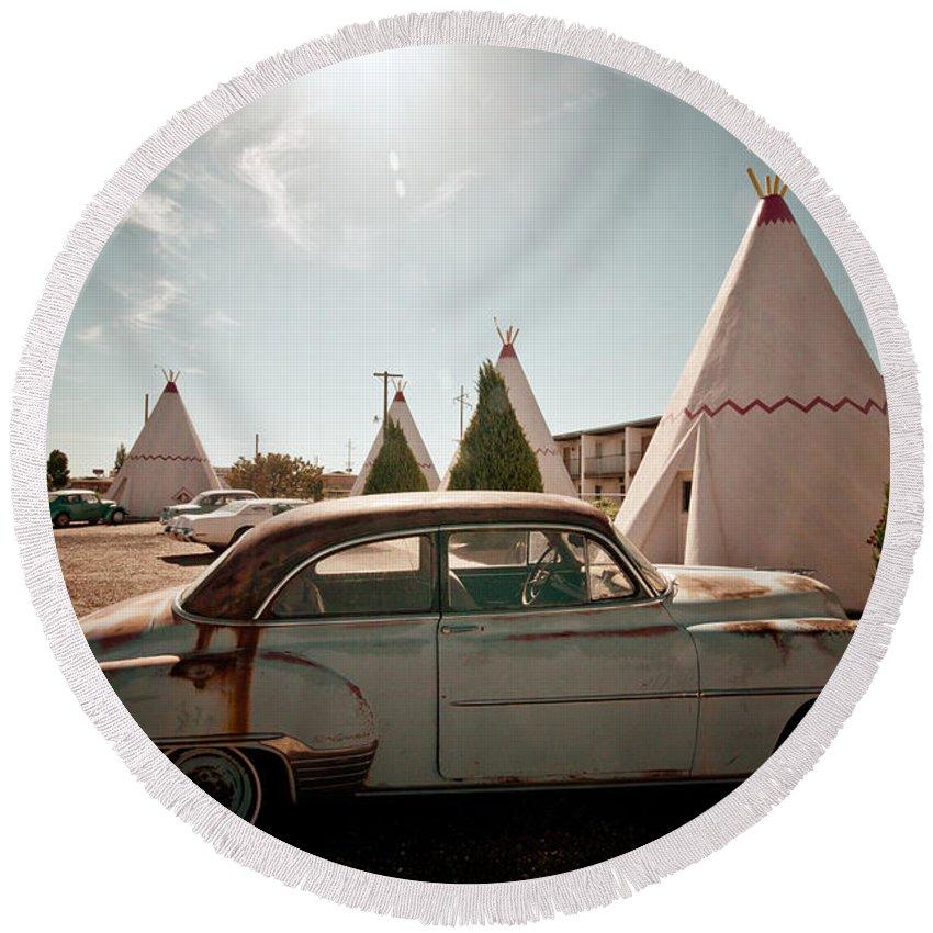 66 Round Beach Towel featuring the photograph Wigwam Motel Classic Car #8 by Robert J Caputo