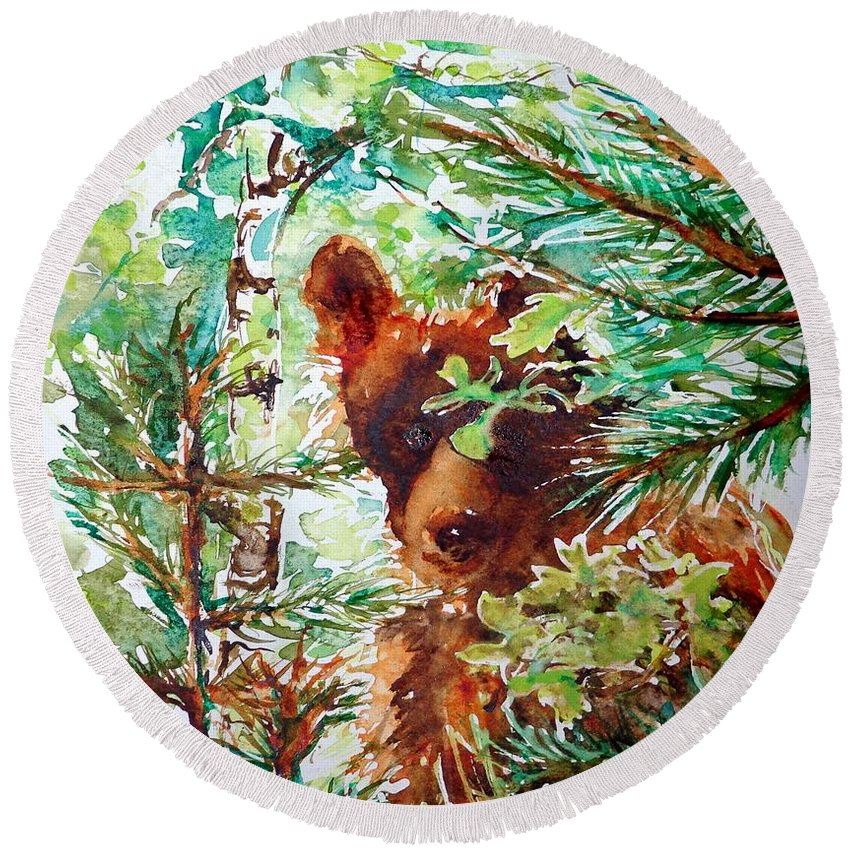 Watercolor Round Beach Towel featuring the painting Wild Bear Peek-a-boo Watercolour by CheyAnne Sexton