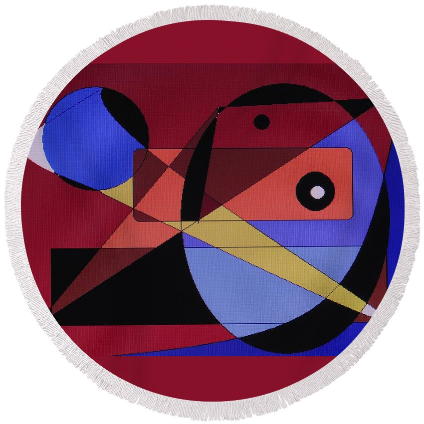 Abstract Bird Round Beach Towel featuring the digital art Wild Bird by Ian MacDonald