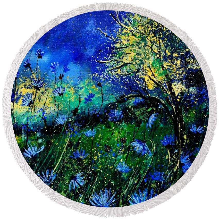 Poppies Round Beach Towel featuring the painting Wild Chocoree by Pol Ledent