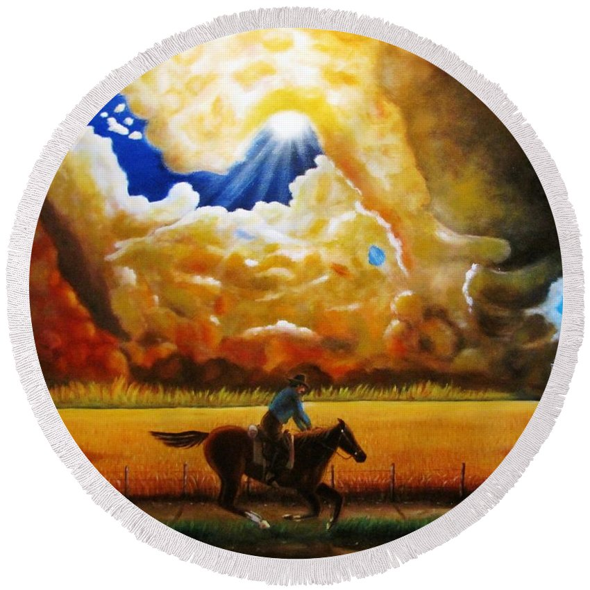 Clouds Round Beach Towel featuring the painting Wild Fire by Gene Gregory