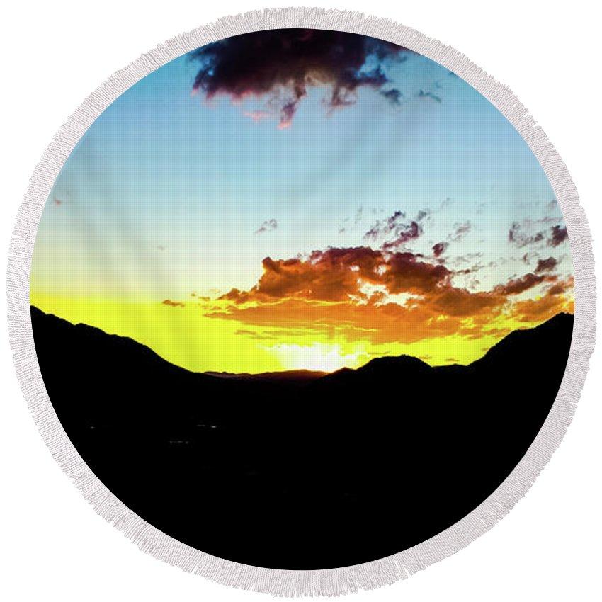 Colorado Sunset Landscape Orange Blue Round Beach Towel featuring the photograph Wild Fire by Jesse Krause