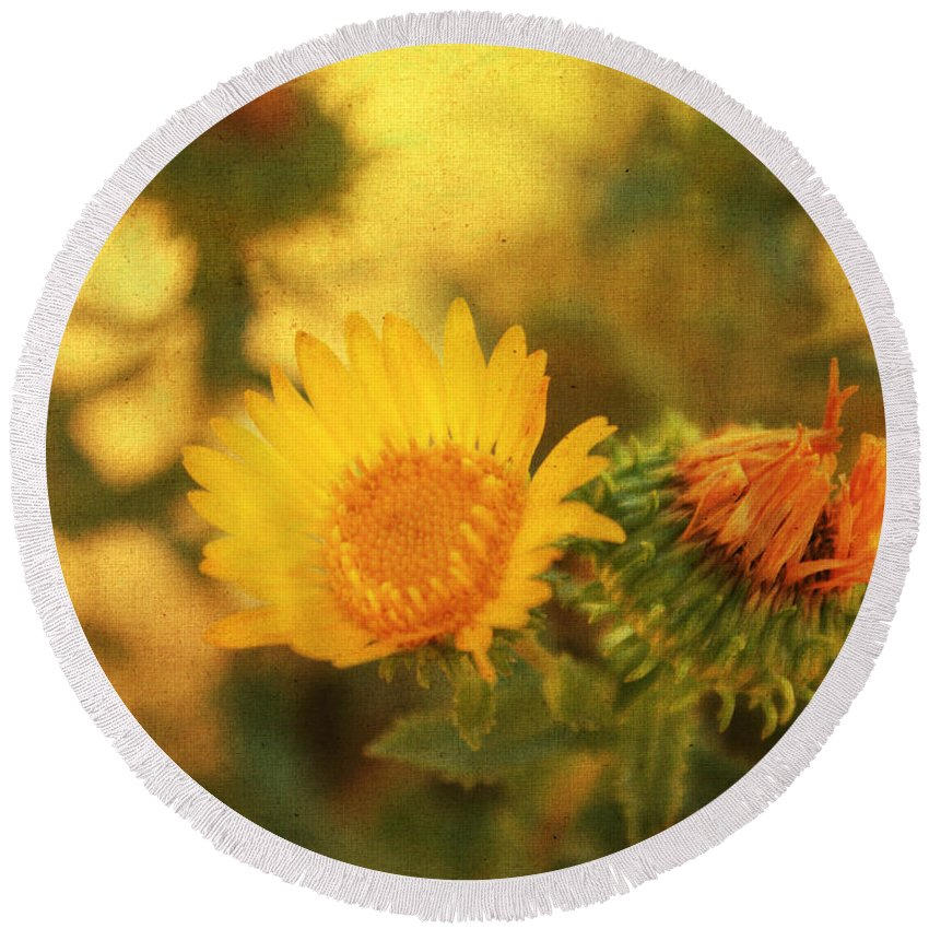 Floral Print Round Beach Towel featuring the mixed media Wild Flower by Julie Hamilton