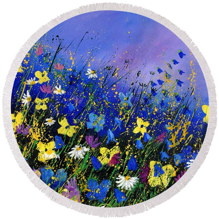 Flowers Round Beach Towel featuring the painting Wild Flowers 560908 by Pol Ledent