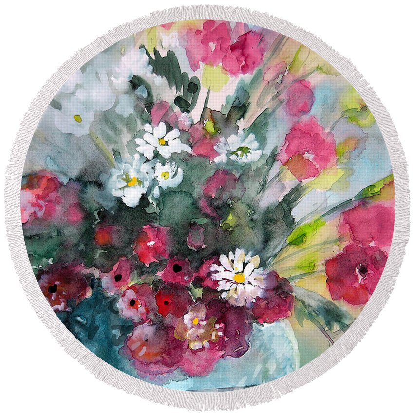 Wild Flowers Round Beach Towel featuring the painting Wild Flowers Bouquet 01 by Miki De Goodaboom