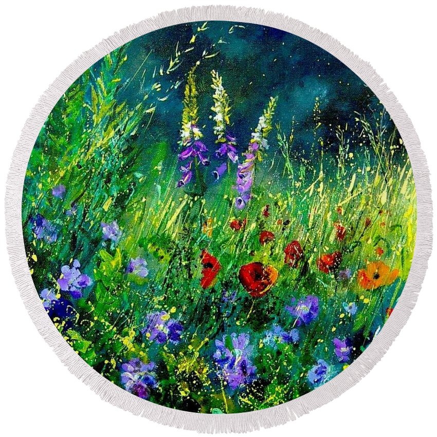 Poppies Round Beach Towel featuring the painting Wild Flowers by Pol Ledent